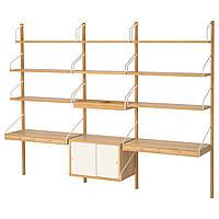 IKEA SVALNAS Стол, установленный на стене, бамбук, белый  (191.844.62)
