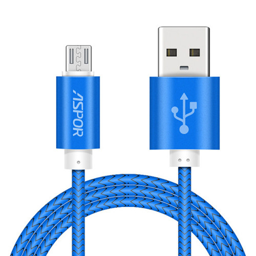 Micro USB NYLON кабель Aspor A173 30 см 3.0A – синий