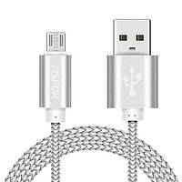 Micro USB NYLON кабель Aspor A173 30 см 3.0A – серый, фото 1