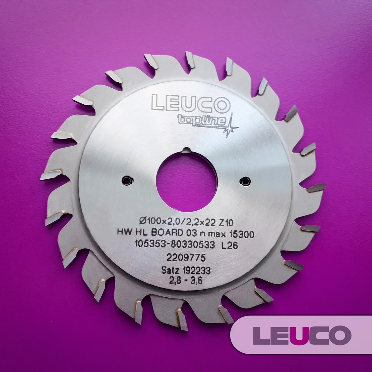 """Двухкорпусные подрезные дисковые пилы Leuco с регулировочными кольцами, 100х2,8-3,6х2,2х22 z=10+10, """"ES"""" зуб"""