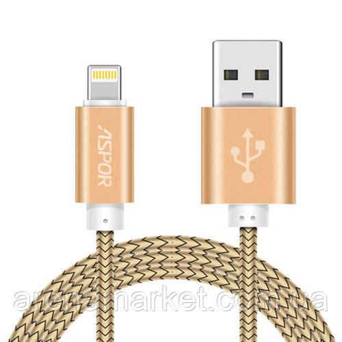Lightning NYLON кабель Aspor A175 30 см 3.0A – золотистый