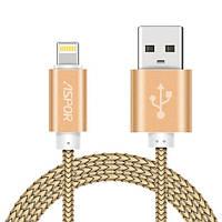 Lightning NYLON кабель Aspor A175 30 см 3.0A – золотистый, фото 1