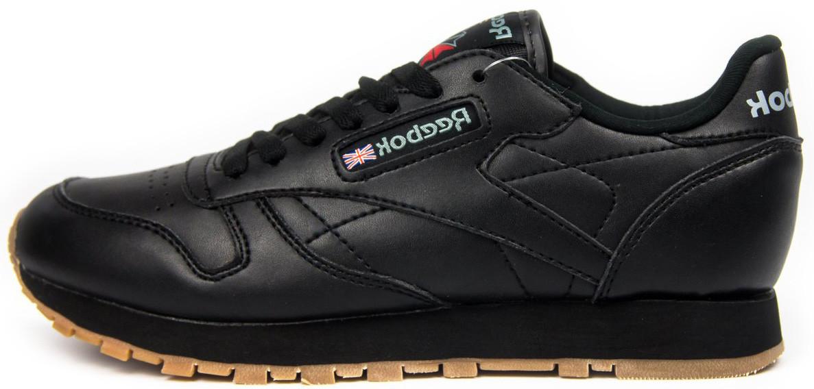 Женские кроссовки Reebok Classic Leather Black (Рибок Класик) черные