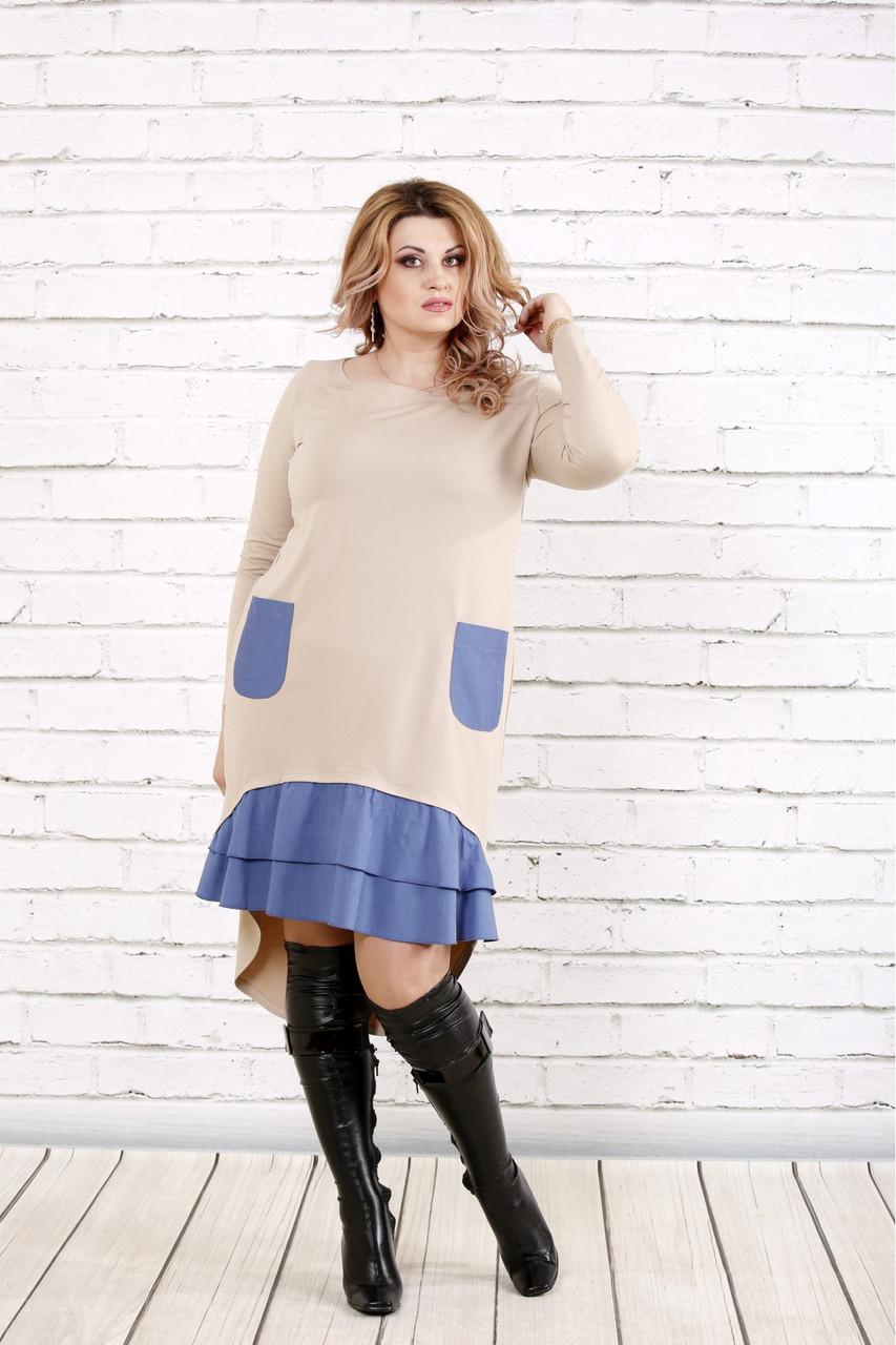 Жіноче плаття зі шлейфом і кишенями 0775 / розмір 42-74 / колір бежевий
