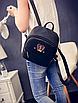 Рюкзак женский кожзам яркий с ушками Черный, фото 4
