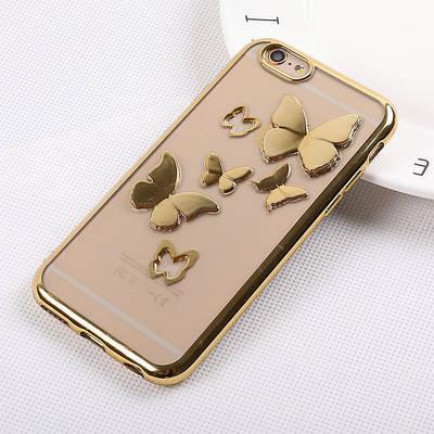 Чехол накладка на iPhone 6/6s 3D с бабочками прозрачный, золотой