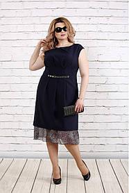 Женское платье с шифоном 0774 / размер 42-74 / цвет синий