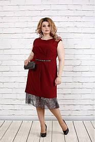 Женское платье с шифоном 0774 / размер 42-74 / цвет бордо