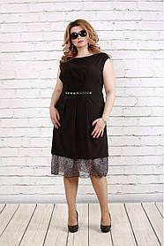 Женское платье с шифоном 0774 / размер 42-74 / цвет черный