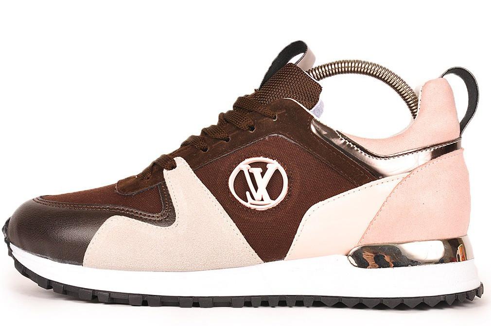 Женские кроссовки Louis Vuitton (Луи Витон) коричнево-бежевые