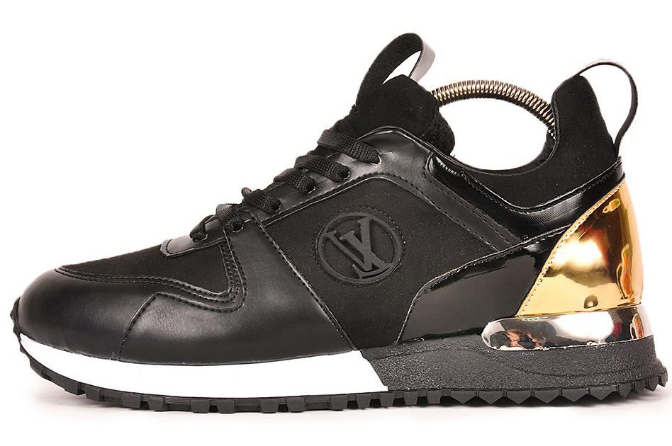 Женские кроссовки Louis Vuitton (Луи Витон) черно-золотистые