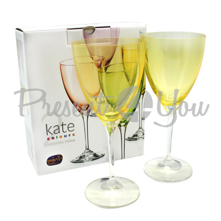Бокалы для вина 2шт Kate Yellow,Bohemia (199-1206)