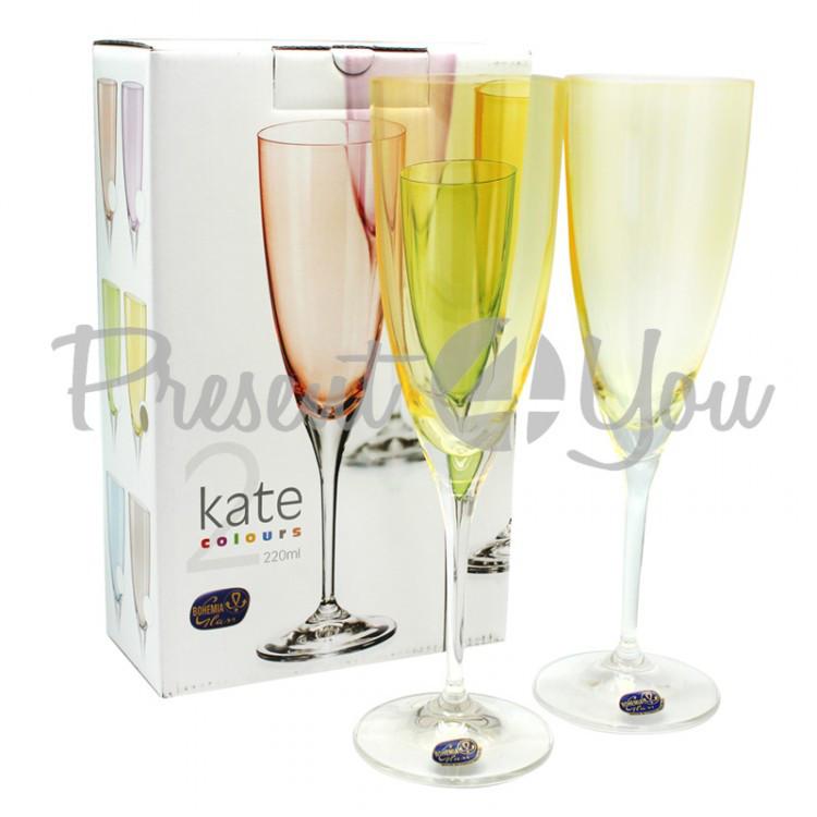 Бокалы для шампанского 2шт Kate Yellow, Bohemia, 220 мл (199-1204)