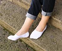 Комплект (2 пары) белых носков-невидимок с силиконовым фиксатором на пятке. Артикул: NB-2