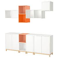 IKEA EKET Сочетание настенных шкафов, белый светло-оранжевый, оранжевый  (392.210.72)