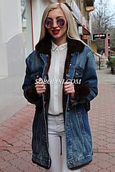 Куртка джинсовая с норкой, длина 85см