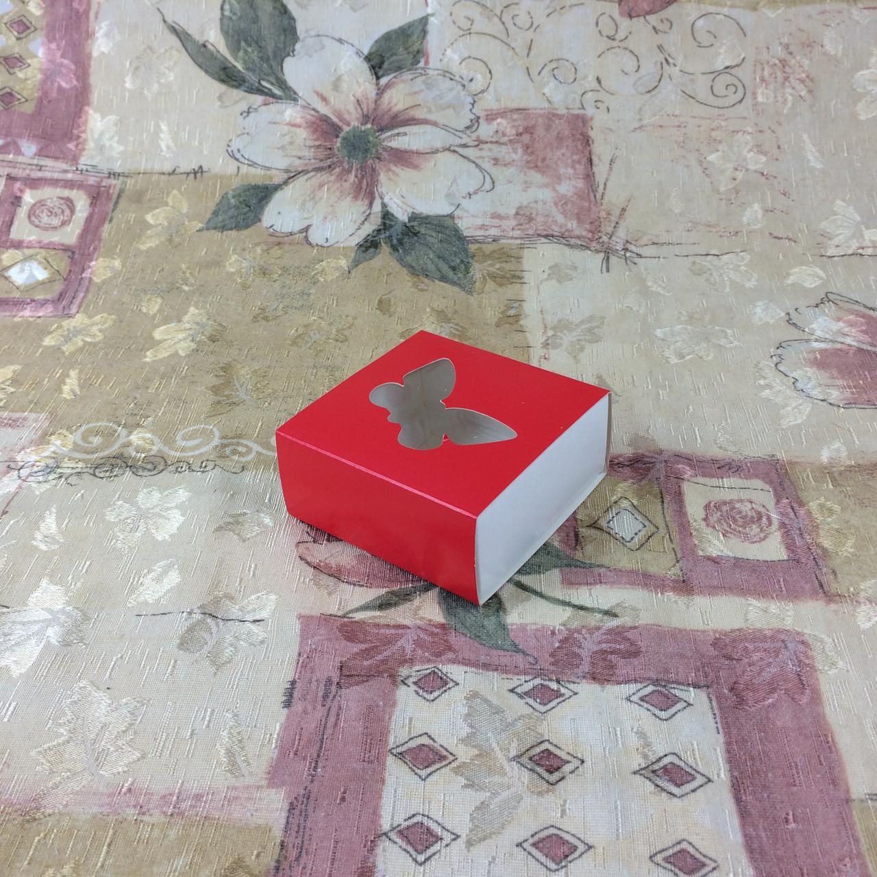 Коробка для пряников / 80х80х35 мм / печать-Красн / окно-Бабочка