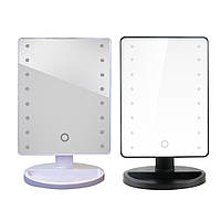 Малое черное LED зеркало с подсветкой  для макияжа
