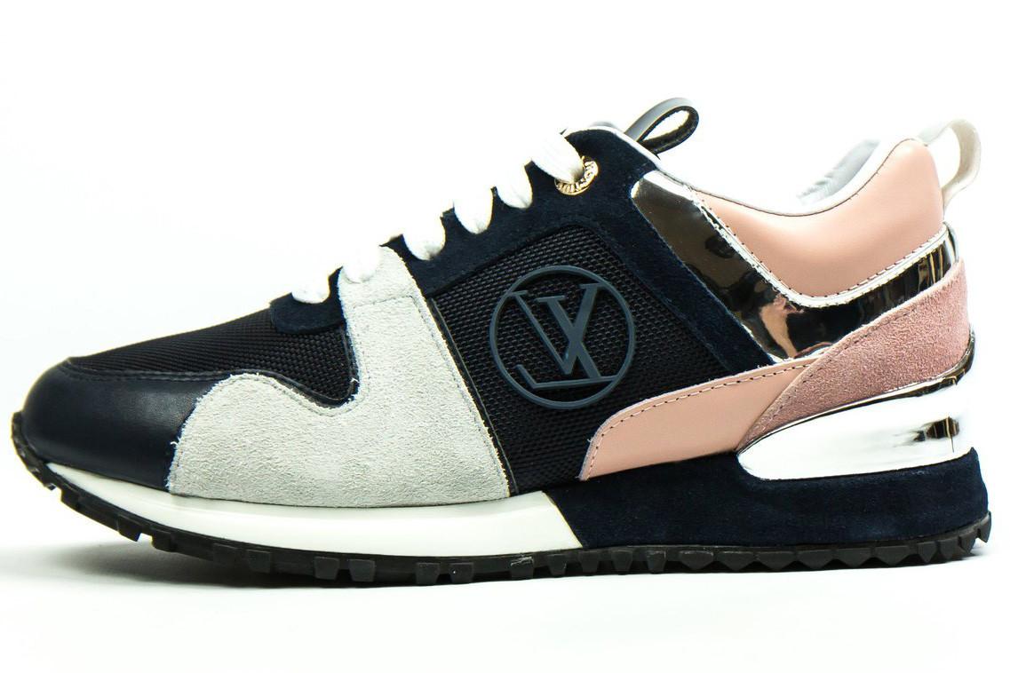 Женские кроссовки Louis Vuitton LV Run Away (Луи Витон) синий/бежевый/белый