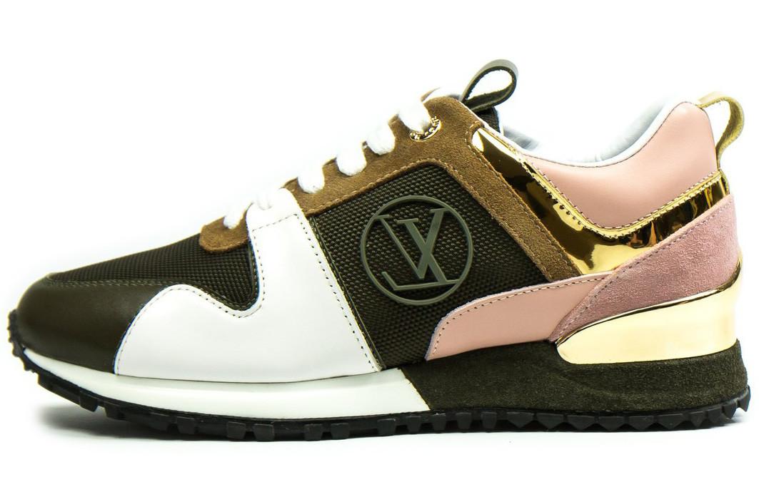 Женские кроссовки Louis Vuitton LV Run Away (Луи Витон) коричневый/белый