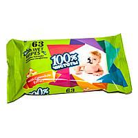 """Салфетки влажные для детей ТМ """"100% чистоты"""" с экстрактом календулы и витамином Е (63шт.)"""