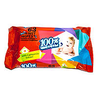 """Салфетки влажные для детей ТМ """"100% чистоты"""" с экстрактом ромашки (63шт.)"""
