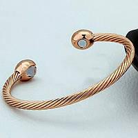 Медный браслет с магнитами (витой) розовое золото.