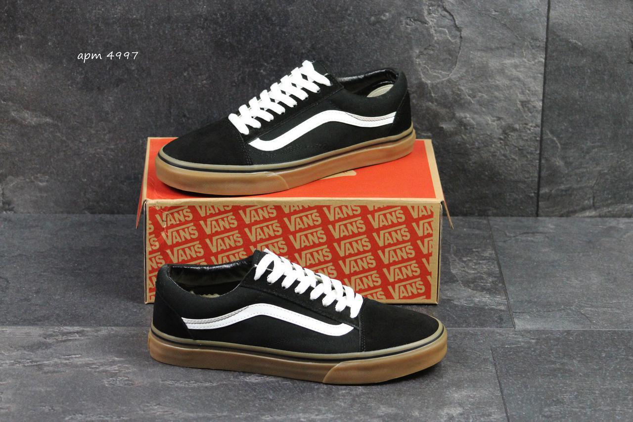 Vans Old School мужские кеды. артикул 4997 черно белые с коричневым ... 8a7fc60cfa2