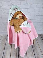 """Махровый комплект для купания (полотенце+мочалка) """"Пандочка"""" для девочки"""