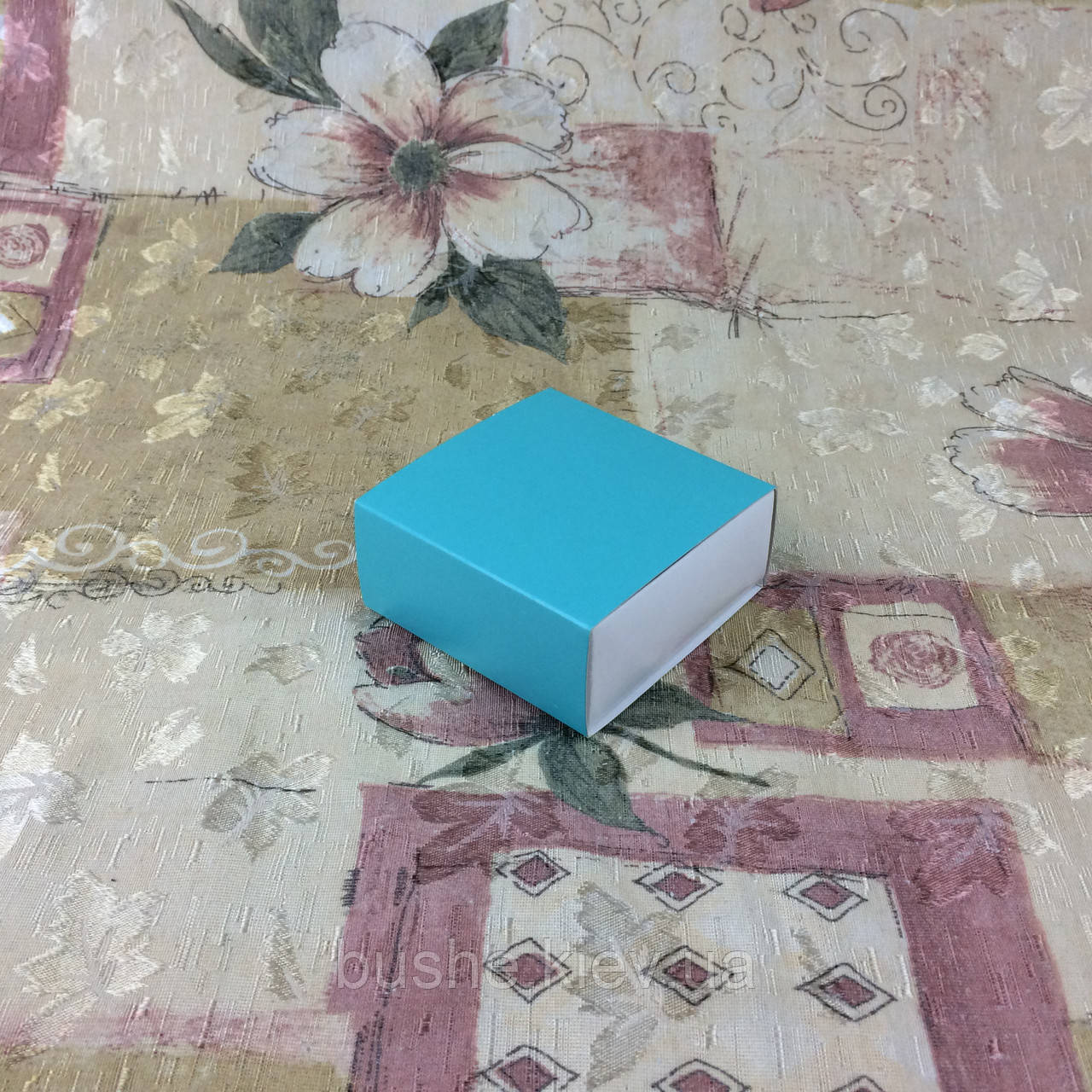 Коробка для пряников / 80х80х35 мм / печать-Бирюз / б.о.