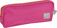 Пенал мягкий розовый, с набором значков, 19*7*3