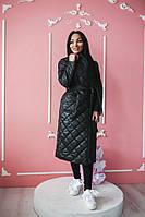 Женская длинная куртка -плащ  цвет черный