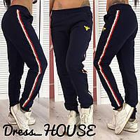 Спортивные женские прямые штаны с ломпасами 92257, фото 1