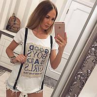 Женская прямая летняя футболка из коттона 89758, фото 1