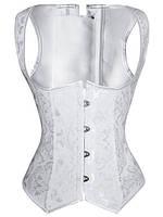 Женский плотный белый корсет с открытой грудью