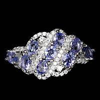 Серебряное кольцо с танзанитами 4 мм*3мм