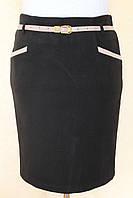 Юбка теплая с карманами и поясом ( черный, коричневый ) 48-54 р
