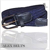 Ремень плетенка резинка (темно-синий) пряжка шпенек 30 мм -купить оптом в Одессе
