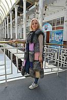 NEW!Новая коллекция!шикарный жилет из чернобурки комбинированный цветной норкой в длинне 110-120см