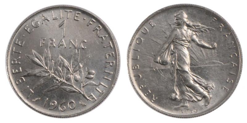 Монета 1 франк Франция 1960г.