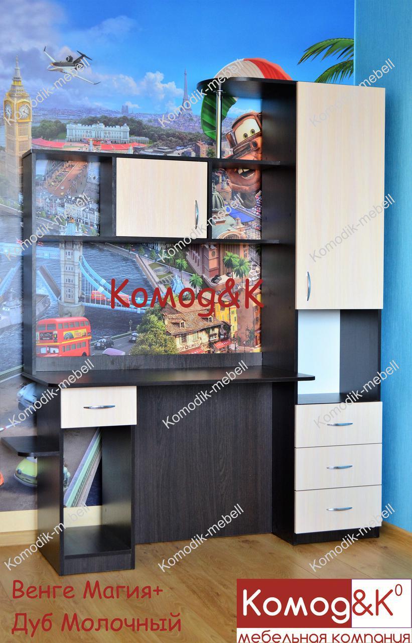 Стол компьютерный Оскар прямой с системным блоком. Венге магия + Дуб молочный