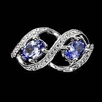 Серебряное кольцо с танзанитами 6 мм*4мм