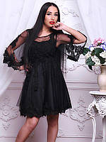 80cbdb15aff4d54 Платье мини приталенное на атласной подкладке с вышитым гипюром на сетке