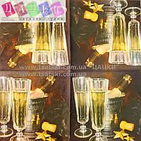 """Салфетка декупажная 33x33см 13 """"Бокалы шампанского вина"""""""