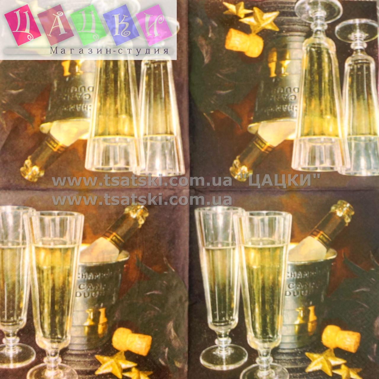 """Салфетка декупажная 33x33см 13 """"Бокалы шампанского вина"""" - магазин-студия Цацки в Чернигове"""