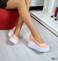 Туфли на платформе, Натуральная кожа, внутри кожа, цвет - ПУДРА, подошва - белая , гладкая