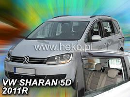 Дефлекторы окон (ветровики)   VW Sharan 2010-> 5D  4шт (Heko)