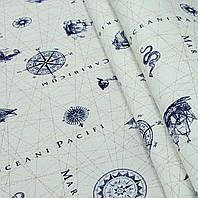 Ткань для штор в морском стиле Компас