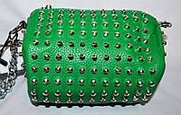 Женский молодежный зеленый клатч с шипами на цепочке 17*10 см
