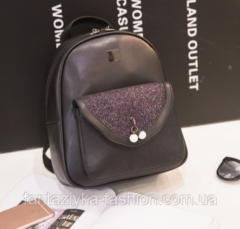 Городской рюкзак черный с блестками и жемчужинами